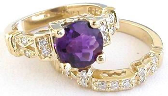 Amethyst Engagement Ring In 14k Yellow Gold GR 2026