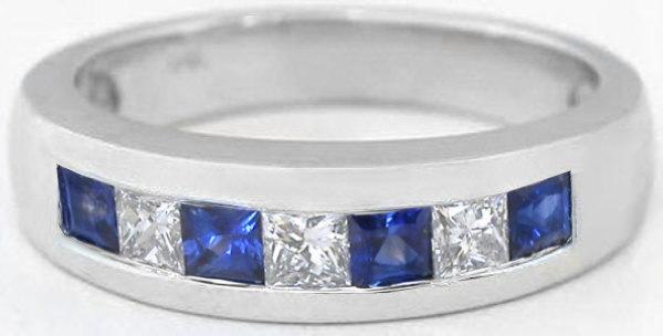 Mens Princess Cut Sapphire And White Sapphire Wedding