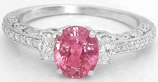 Vintage Pink Sapphire Engagement Ring With Matching Contoured Diamond Wedding Ring Gr 5675