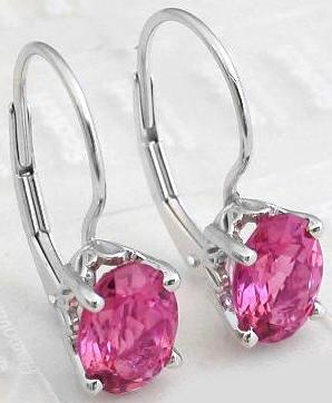 Oval Pink Tourmaline Earrings In 14k White Gold GE 9004 W