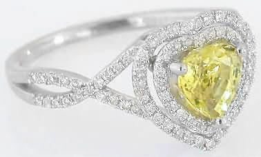 Heart Yellow Sapphire Ring With Double Diamond Halo Band