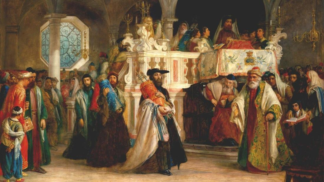Solomon_Alexander_Hart_The_Feast_of_the_Rejoicing_of_the_Law_at_the_Synagogue_in_Leghorn