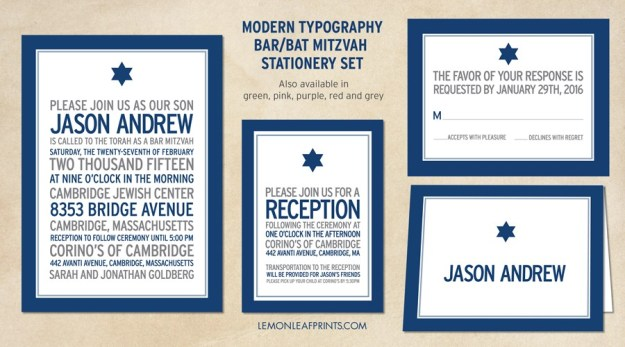 Modern Navy Blue Typography Bar Mitzvah Invitation Set