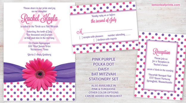 pink purple daisy polka dot bat mitzvah invitation set wasootch lemon leaf prints