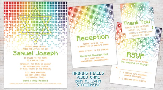 Gamer Video Game Bar Mitzvah Invitation Set - Raining Pixels
