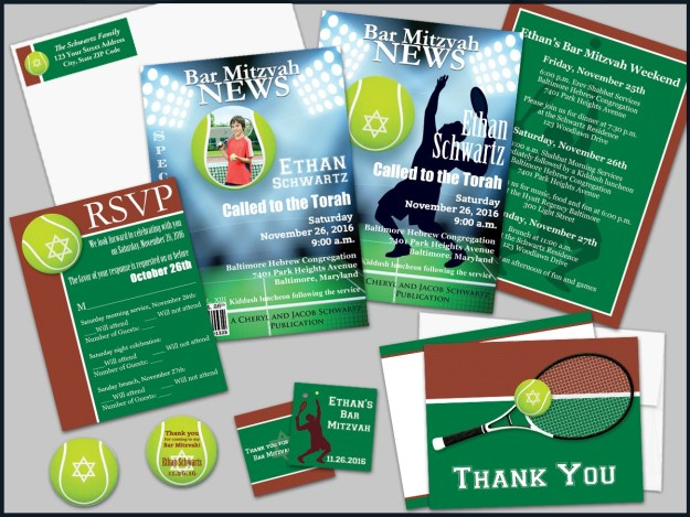 Magazine Style Tennis Bar Mitzvah Invitation Set