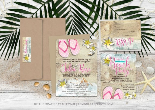 Flip Flops Beach Bat Mitzvah Invitation Set