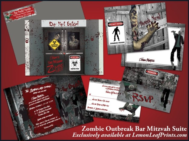 Zombie Bar Mitzvah Invitation Set