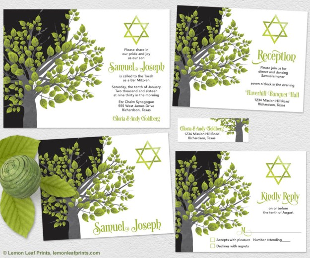 Green and Black Tree of Life Bar Mitzvah Invitation Set