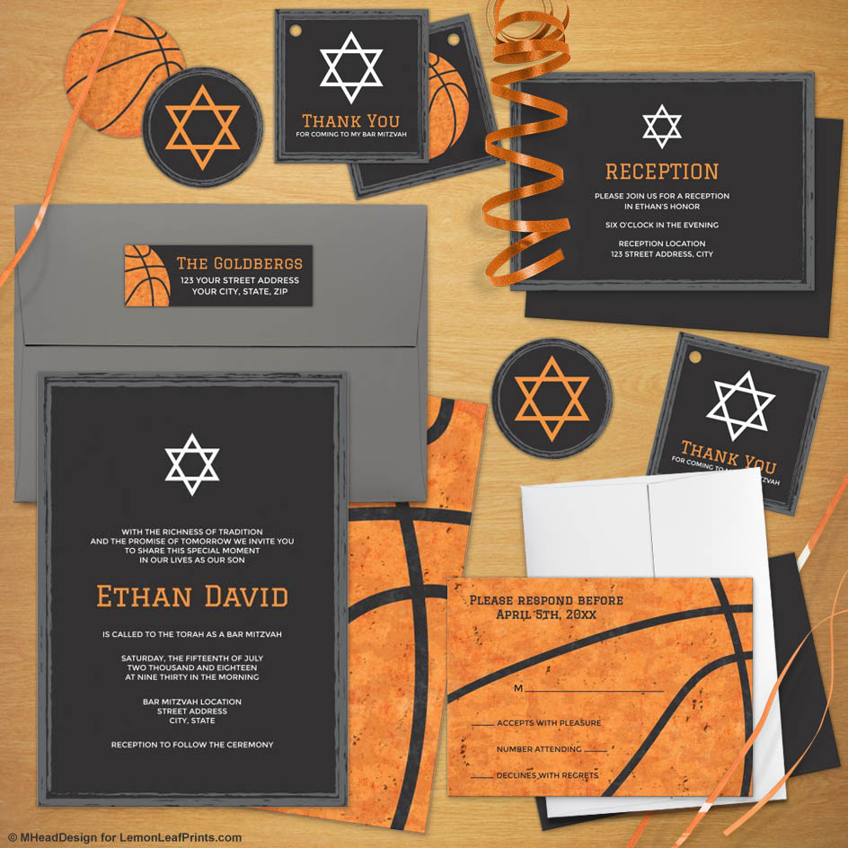 Orange Black Basketball Bar Mitzvah Invitation Suite My Jewish Party