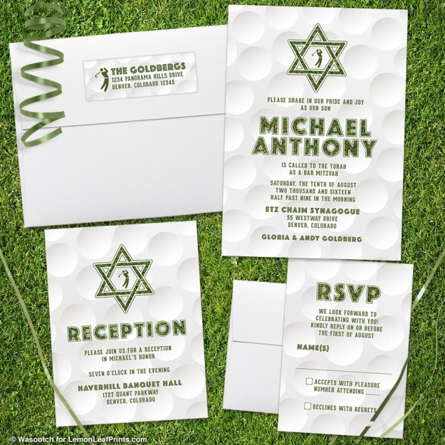 golfing golf Bar Mitzvah invitation set