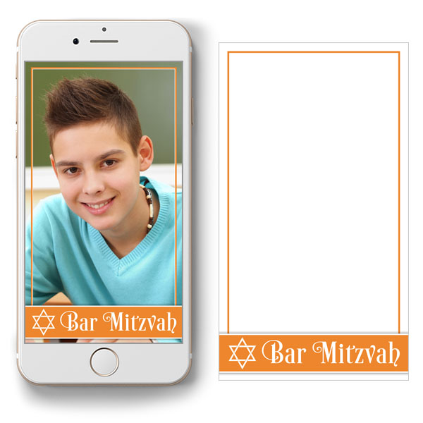 free orange and white Bar Mitzvah Snapchat geofilter