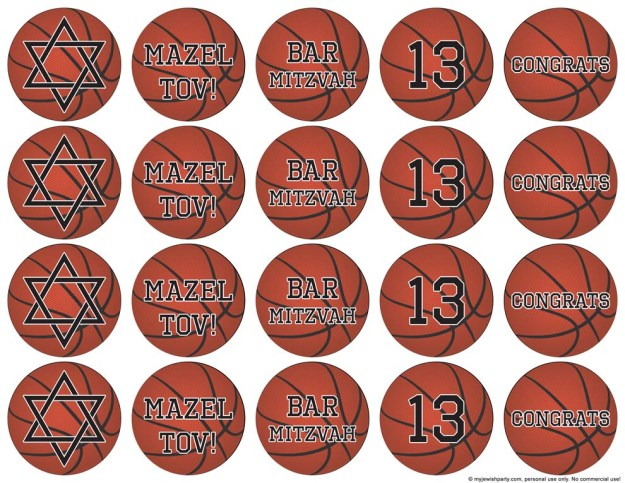 free basketball bar mitzvah cupcake toppers