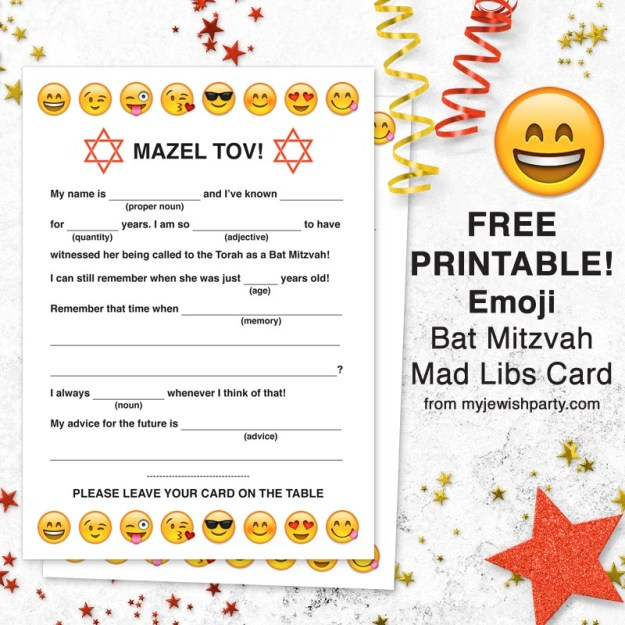 Free printable emoji Bat Mitzvah Mad Libs card