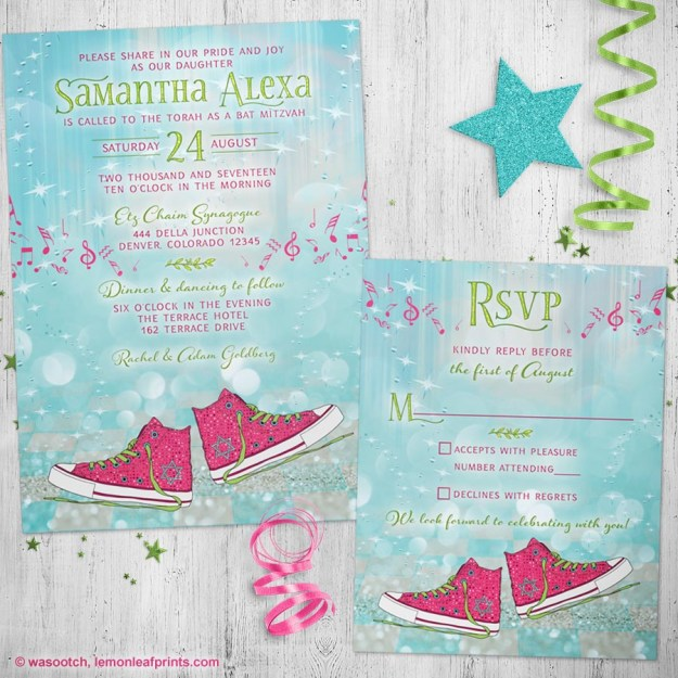 Fancy Converse Sneakers Bat Mitzvah Invitation and RSVP Card