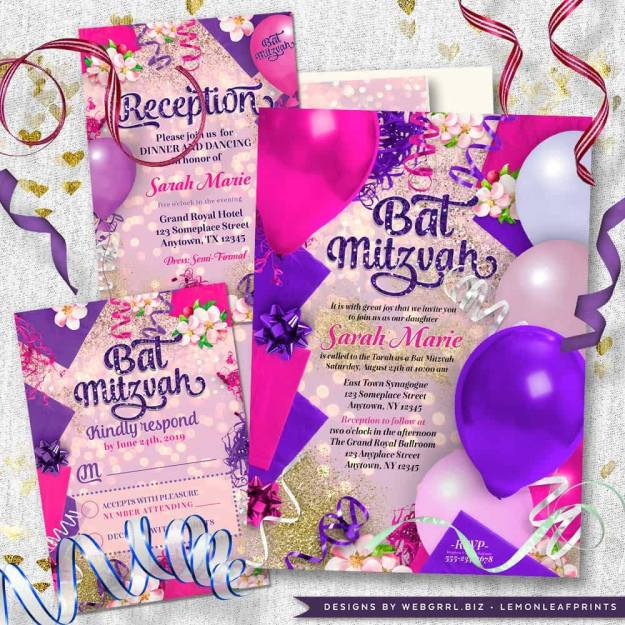 Party balloons decor pink purple Bat Mitzvah invitation set