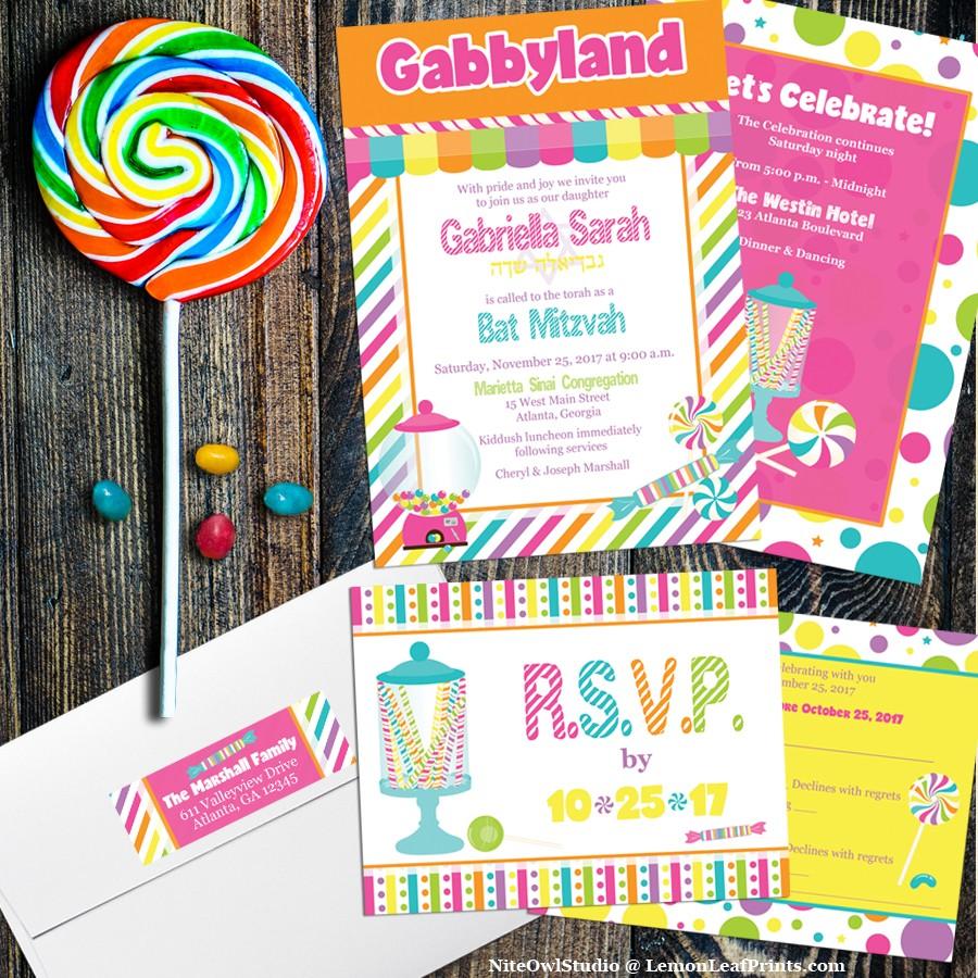 Candyland Candy Theme Bat Mitzvah Invitation Set My Jewish Party