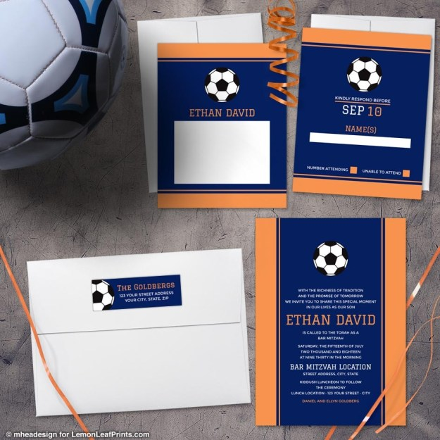 Orange Blue Soccer Bar Mitzvah Invitation Set