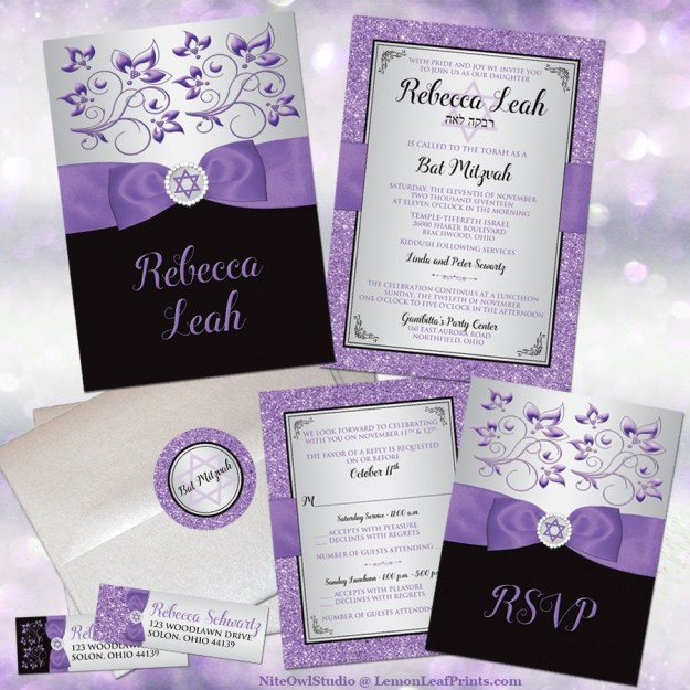 Purple silver black floral ribbon Bat Mitzvah invitation set