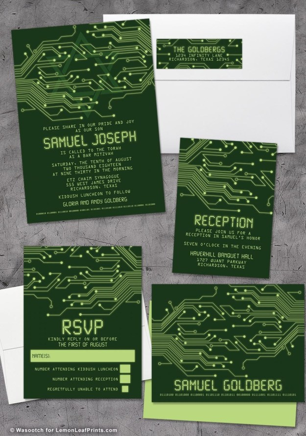High Tech Computer Circuit Board Bar Mitzvah Invitation Set