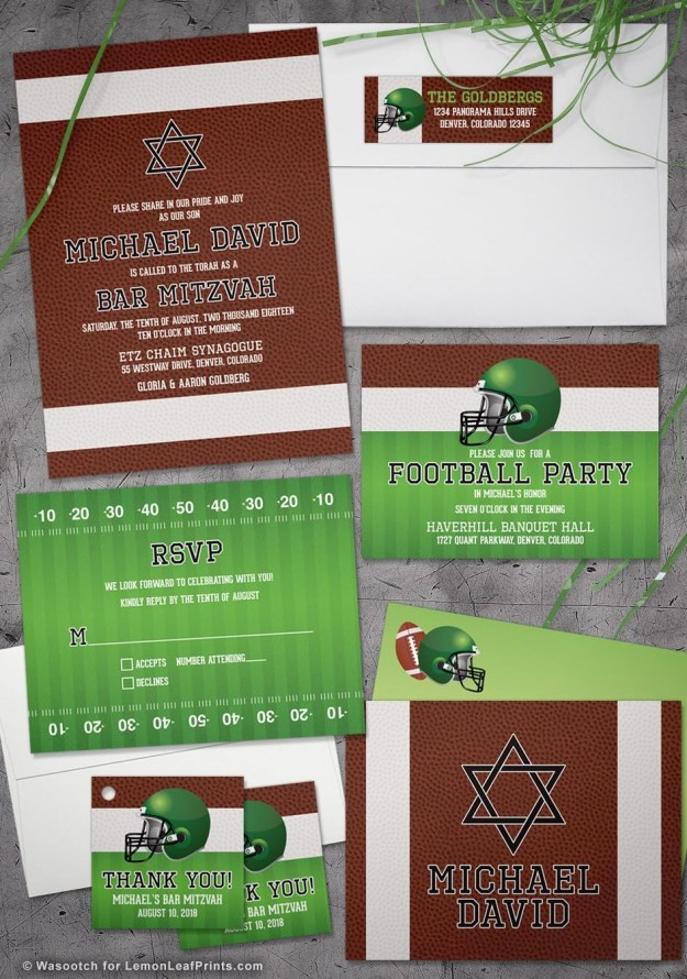 Brown Green American Football Bar Mitzvah Invitation Suite