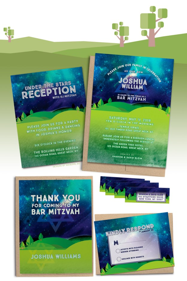 Under the stars outdoor or camping themed Bar Mitzvah invitation set