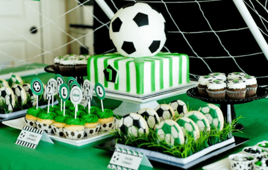 green black white soccer party decor idea