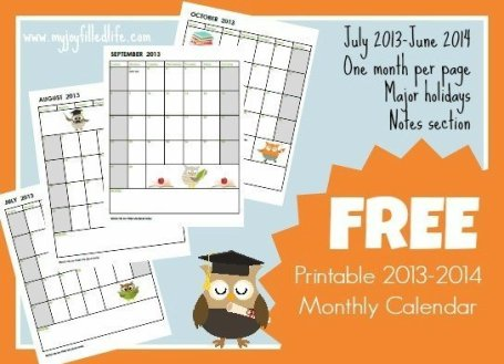 FREE Printable 2013-2014 Monthly School Calendar
