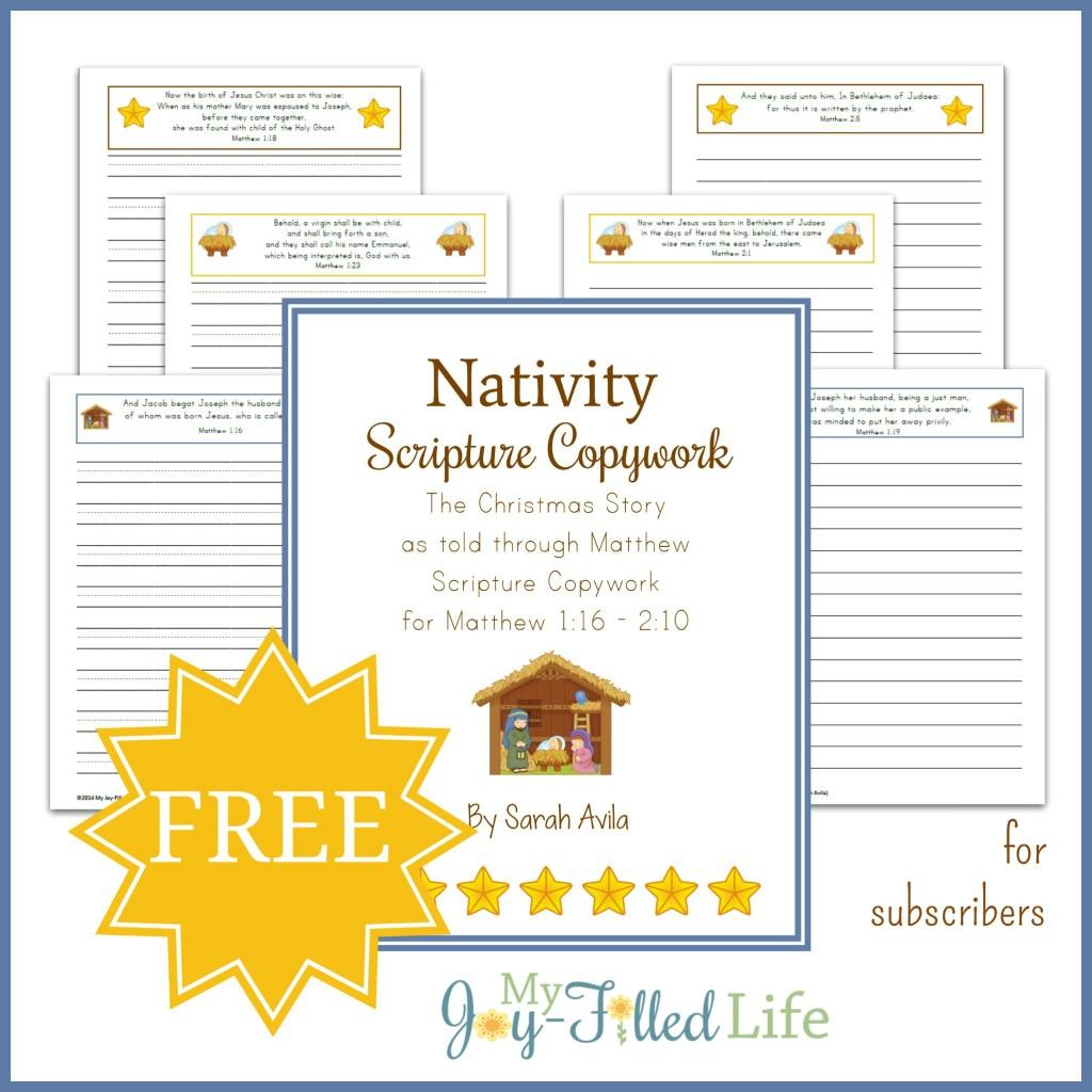 Free Nativity Scripture Copywork