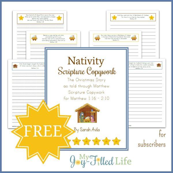 FREE Nativity Scripture Copywork 2