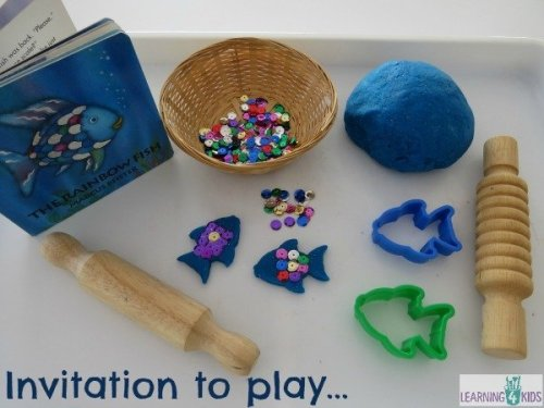 invitation-to-play-with-the-rainbow-fish-story-book-and-play-dough-with-sequins