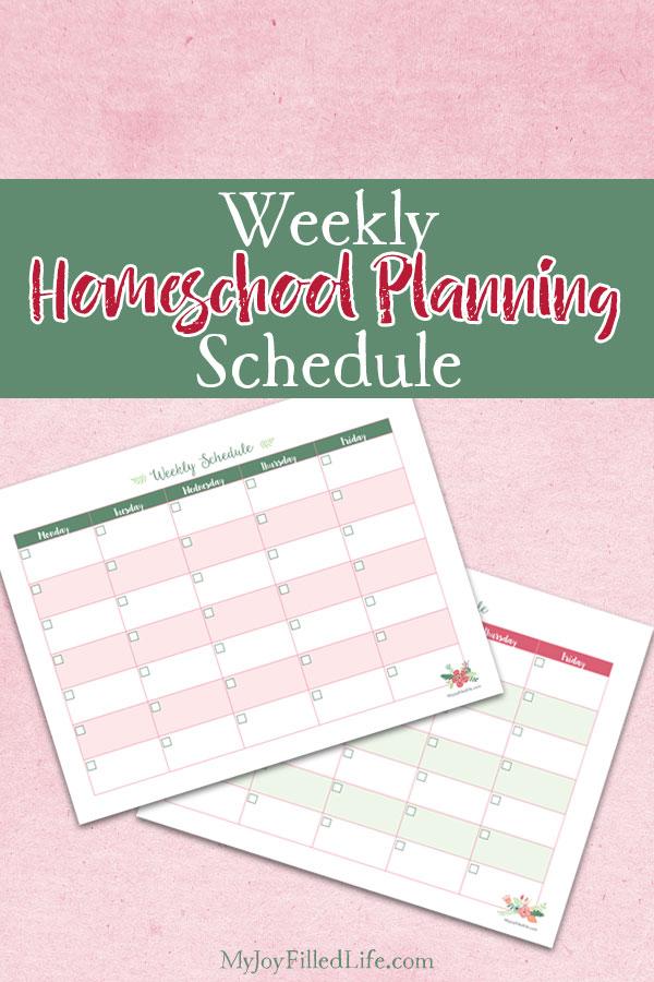 Weekly Homeschool Planning Printable
