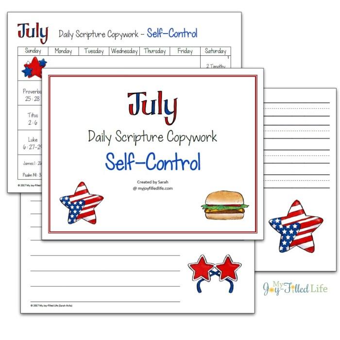 July copywork
