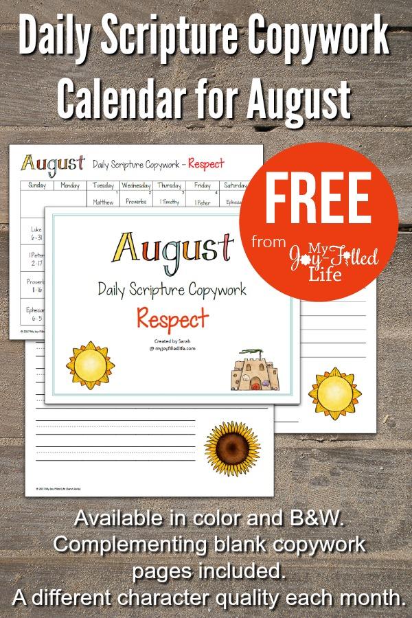 Daily Scripture Copywork Calendar For August