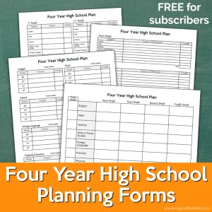 Four Year High School Planning Forms for Homeschoolers