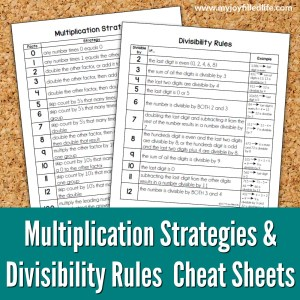 Multiplication Strategies & Divisibility Rules Cheat Sheets