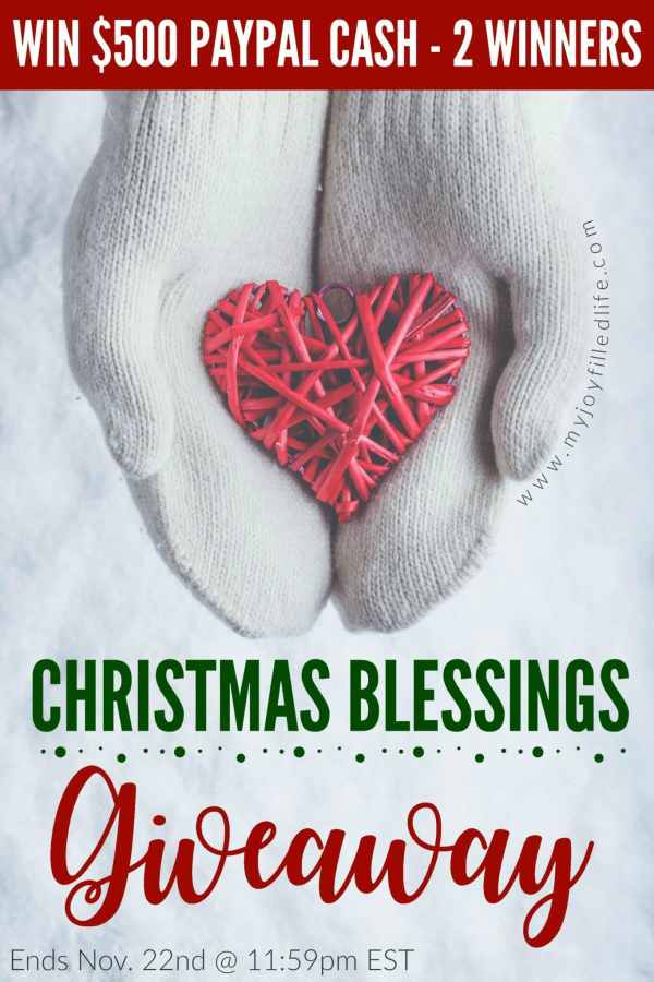 Enter to win $500 in the Christmas Blessings Giveaway - 2 winners! Ends Nov. 22, 2017