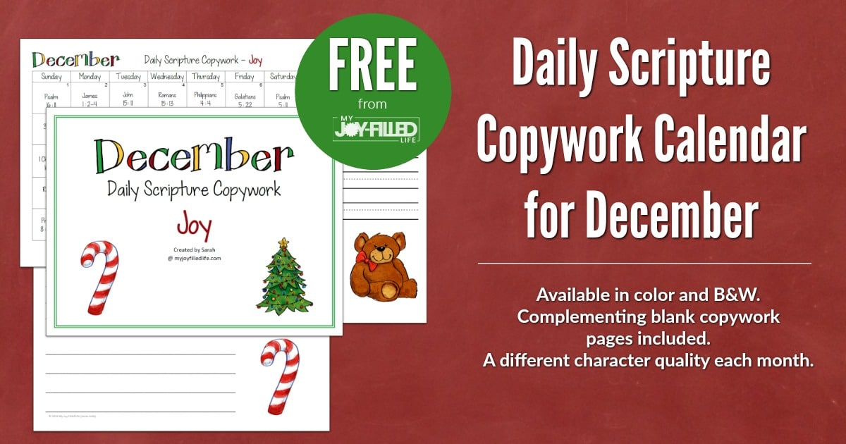 Daily Scripture Copywork Calendar For December