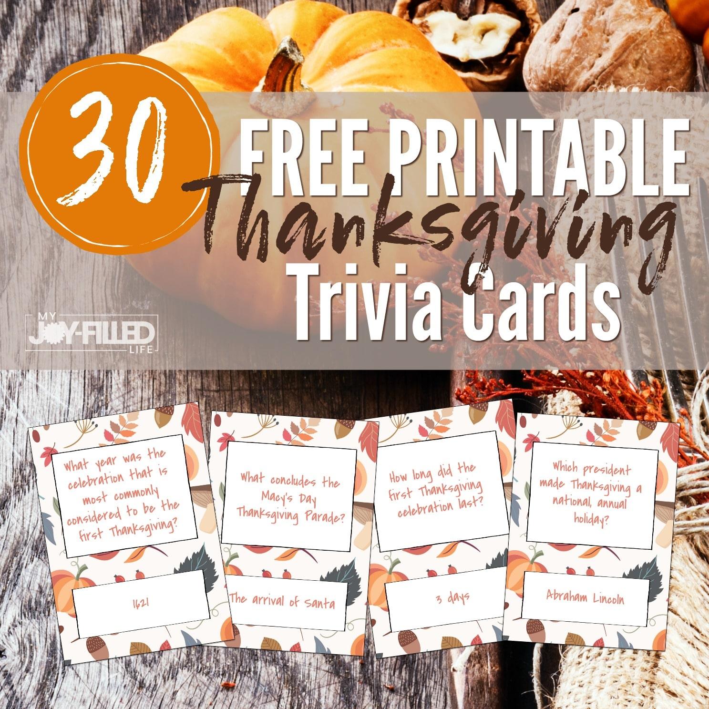 Printable Thanksgiving Trivia Cards