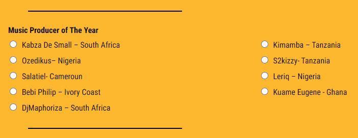 AFRIMMA 2020 nominees