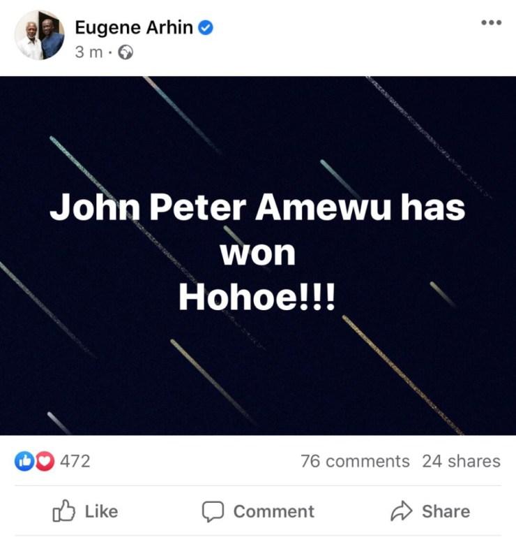 Amewu has won Hohoe for NPP – Eugene Arhin. 4