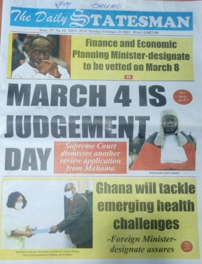 Newspaper headlines of Tuesday, February 23, 2021 14