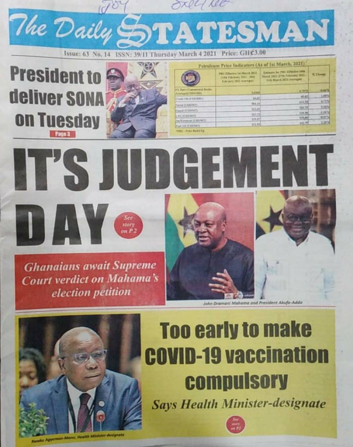 Newspaper headlines of Thursday, March 4, 2021 3