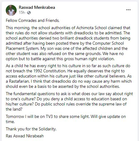 2 students with dreadlocks allegedly denied admission to Achimota School 1