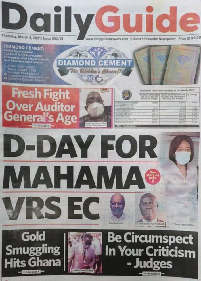Newspaper headlines of Thursday, March 4, 2021 2