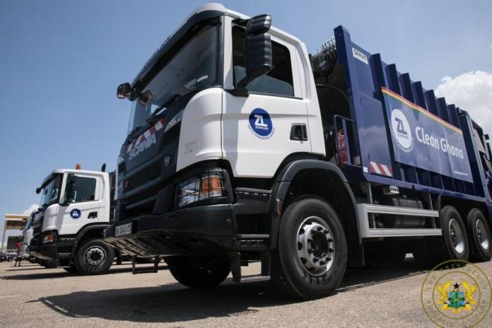 Akufo-Addo unveils 101 new waste management trucks procured by Zoomlion Ghana