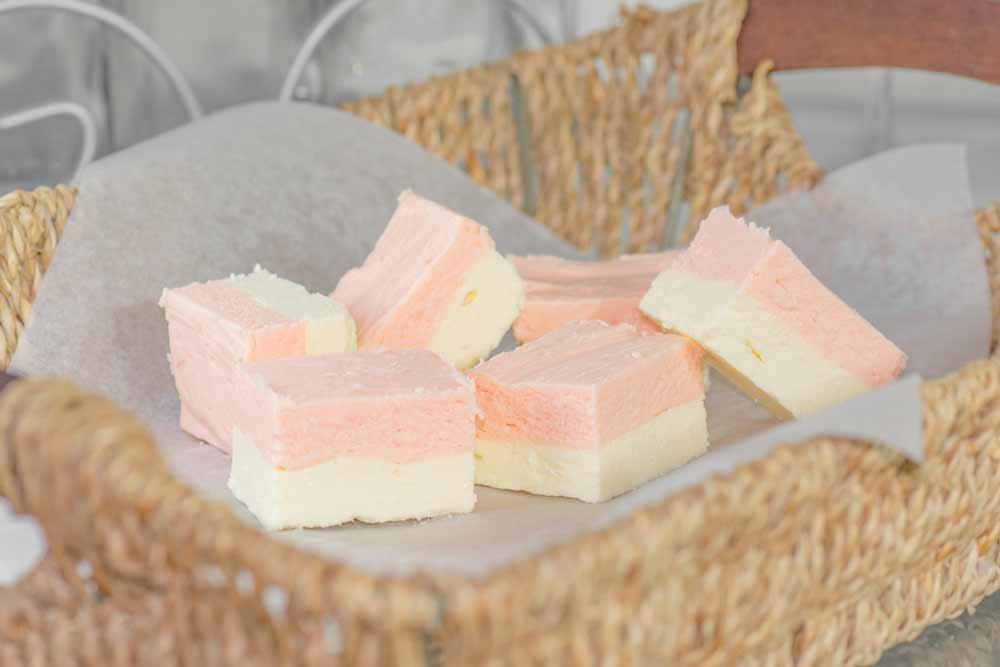 Low Carb Vanilla Strawberry Keto Fudge Fat Bombs