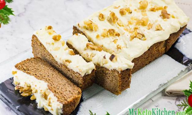 Low Carb Frosted Gingerbread Loaf