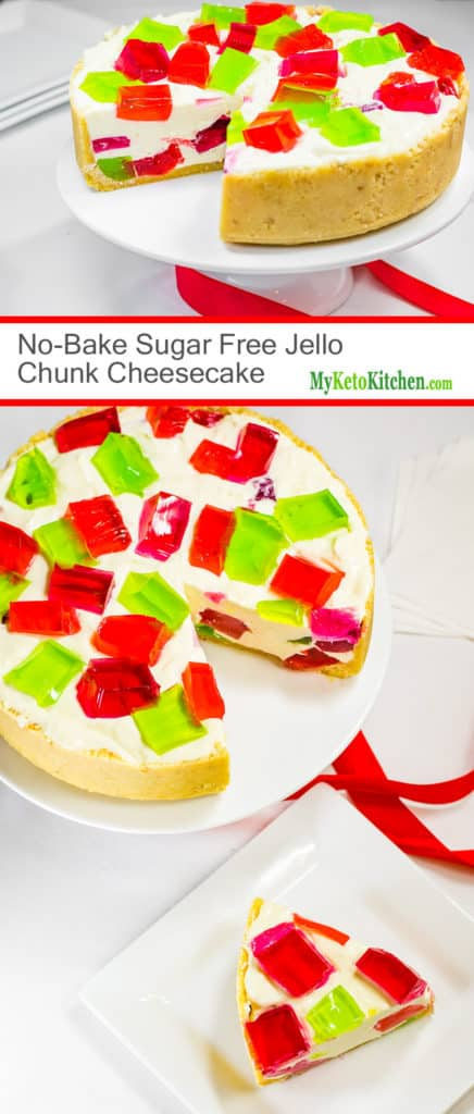 No Bake Sugar Free Jello Chunk Cheesecake (Gluten Free, Low Carb, Keto, Grain Free)