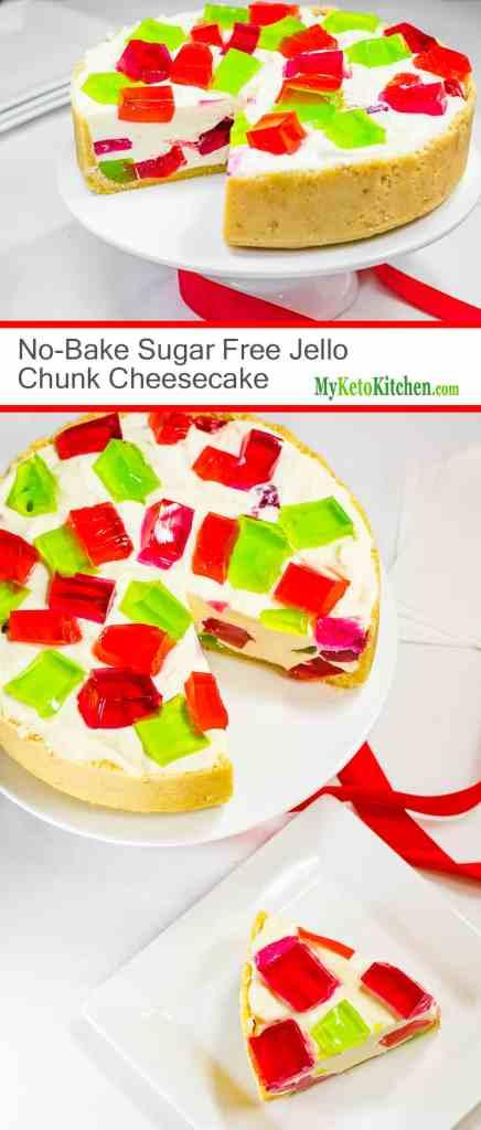 No Bake Sugar Free Jello Chunk Cheesecake (Gluten Free, Low Carb, Keto, Grain Free)